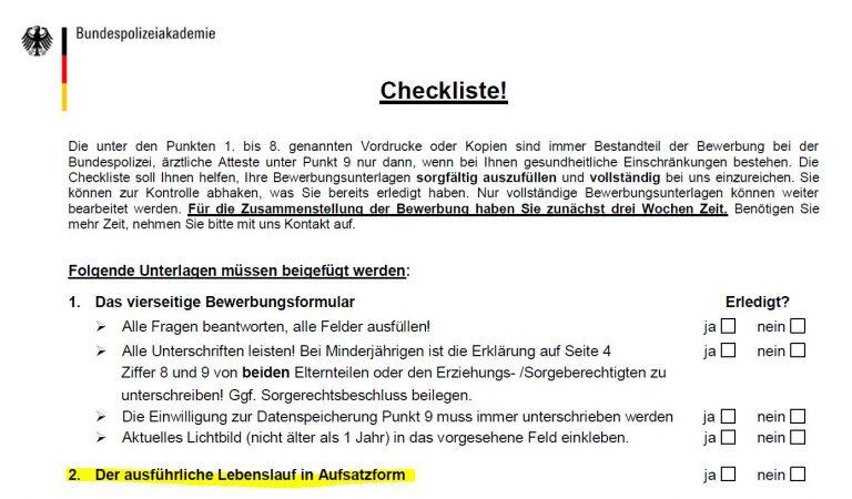 Checkliste Bundespolizei